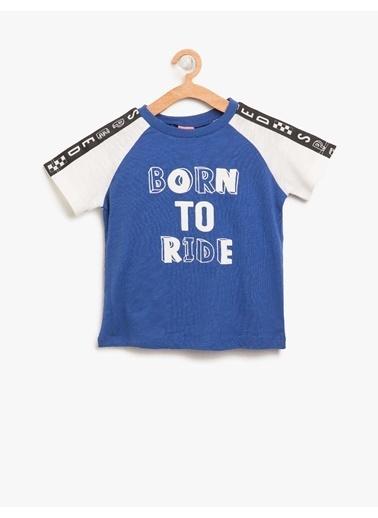 Koton Kids Yazılı Baskılı T-Shirt Saks